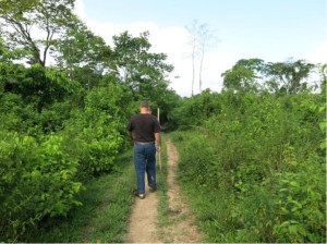 Walking to a nearby village
