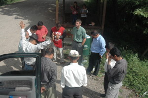 Pastors praying before heading to El Zapote village