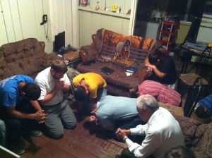 Gathering in Jesus Name at the friends house above Las Vegas