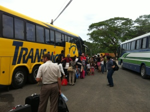 Waiting to board the bus to go into Costa Rica territory.