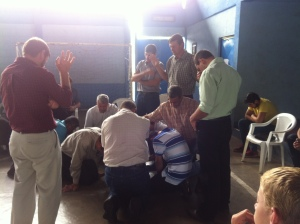 Men's prayer time.