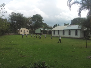Students playing at the School and church property
