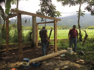 Bro David, Leroy and Phillip building a parlor to milk our cow