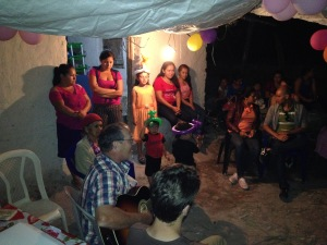david Yoder in Tambla Lempira, singing at a birthday party!